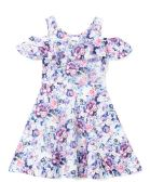 6 Units of Girls Lilac Flower Print Dress in Size 7-14 - Girls Dresses and Romper Sets