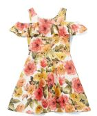 6 Units of Girls Coral Flower Print Dress in Size 7-14 - Girls Dresses and Romper Sets