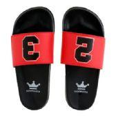 12 Units of Mens Black Red Slide - Men's Flip Flops and Sandals