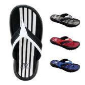48 Units of Mens Striped Sandal - Men's Flip Flops and Sandals