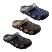 36 Units of Mens Two Tone Double Layer Garden Clogs - Men's Flip Flops and Sandals