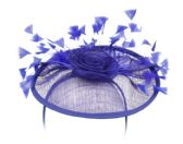 4 Units of SINAMAY FASCINATOR WITH FLOWER AND FEATHER TRIM IN ROYAL - Church Hats