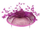4 Units of SINAMAY FASCINATOR WITH FLOWER AND FEATHER TRIM IN LAVENDER - Church Hats
