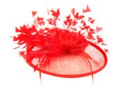 4 Units of SINAMAY FASCINATOR WITH FLOWER AND FEATHER TRIM IN RED - Church Hats