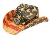 4 Units of AMERICAN FLAG COWBOY HATS - Cowboy & Boonie Hat