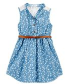 6 Units of Girls' Medium Blue Chambray Dress in Size7-14 - Girls Dresses and Romper Sets