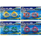 "48 Units of 5.5"" SWIMMING GOGGLES ON BLISTER CARD, 4 ASSORTED DESIGNS - Summer Toys"