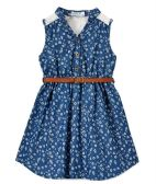 6 Units of Girls' Indigo Chambray Dress in Size 4-6X - Girls Dresses and Romper Sets