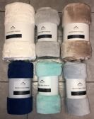 24 Units of VELVET TOUCH SOLID THROW - Micro Plush Blankets