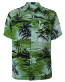 12 Units of Men's Hawaiian Green Shirt, Size S-2XL - Men's Work Shirts