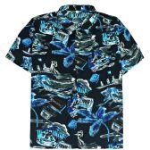 12 Units of Men's Blue/Black Hawaiian Print Shirt ,Size S-2XL - Men's Work Shirts