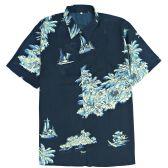 12 Units of Men's Dark Navy Hawaiian Print Shirt Plus Size ,Size 2XL-4XL - Men's Work Shirts
