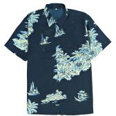 12 Units of Men's Blue/Black Hawaiian Print Shirt ,S-2XL - Men's Work Shirts