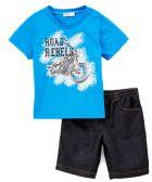 6 Units of Boys graphic Tshirt and denim short set- Size 2 - 4T - Boys Shorts