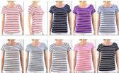 72 Units of Women's Striped Short Sleeve Top - Womens Fashion Tops