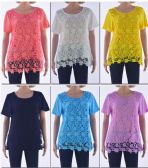 72 Units of Women's Floral Crochet Top - Womens Fashion Tops