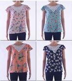 72 Units of Women's Crochet Floral Short Sleeve - Womens Fashion Tops