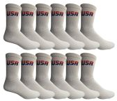 120 Units of Yacht & Smith Men's USA White Crew Socks Size 10-13 BULK PACK - Mens Crew Socks