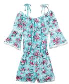 6 Units of Girls' Mint Rayon Romper in Size 4-6X - Girls Dresses and Romper Sets