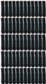72 Units of SOCKSNBULK Women's Solid Cotton Tube Socks, Solid Black, Size 9-11 - Women's Tube Sock