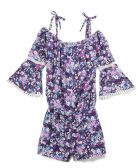 6 Units of Girls' Navy Rayon Romper in Size 7-12 - Girls Dresses and Romper Sets