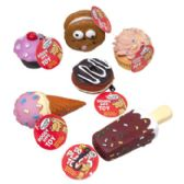 90 Units of Dog Toy Vinyl With Squeaker 6 Asst Food Desserts In Pdq Hang Tag - Pet Toys
