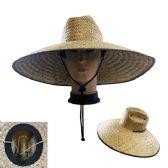 20 Units of Super Large Brim Straw Sun Hat [Vented] Brown Trim - Cowboy & Boonie Hat