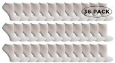 36 Units of SOCKS'NBULK Kids No Show Socks, Soft Sports Socks In Bulk Packs, (Size 6-8) (White, 36) - Boys Ankle Sock