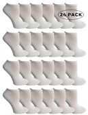 24 Units of SOCKS'NBULK Kids No Show Socks, Soft Sports Socks In Bulk Packs, (Size 6-8) (White, 24) - Boys Ankle Sock