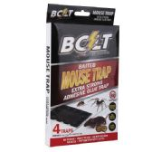 72 Units of Four Pack Bolt Baited Mouse Glue Trap - Pest Control