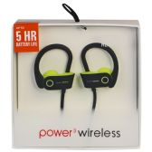 6 Units of POWER 3 WIRELESS BLACK AND GREEN - Headphones and Earbuds
