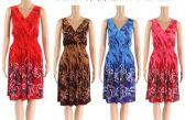 12 Units of V Neck Sun Dress with Tie Dye Style Print Assorted - Womens Sundresses & Fashion