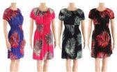 12 Units of Short Sleeve Sun Dress with Palm Leaf Print Assorted - Womens Sundresses & Fashion