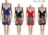 12 Units of Crochet Front Floral Short Summer Dresses Assorted - Womens Sundresses & Fashion