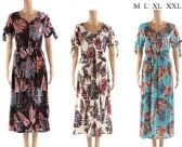 48 Units of Long Summer Dresses with leaf Prints Assorted - Womens Sundresses & Fashion