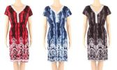 12 Units of Tie Dye Color Flower Print Dress with Lace Around Neck - Womens Sundresses & Fashion