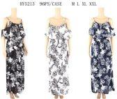 96 Units of Open Shoulder Floral Maxi Dresses - Womens Sundresses & Fashion