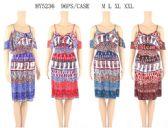 96 Units of Cold Shoulder Cultural Pattern Short Dresses - Womens Sundresses & Fashion