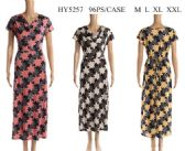 96 Units of Floral Drop Neck Short Sleeve Long Dresses with Ties - Womens Sundresses & Fashion
