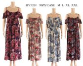 96 Units of Cold Shoulder Ruffle Front Tie Floral Dresses - Womens Sundresses & Fashion