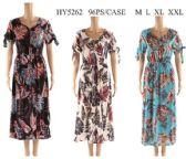 96 Units of Leaf Printed Long Summer Dresses Assorted - Womens Sundresses & Fashion