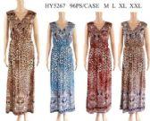 96 Units of Animal Pattern V Neckline Long Dresses - Womens Sundresses & Fashion