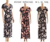 96 Units of V Neckline Shell Printed Long Dresses - Womens Sundresses & Fashion