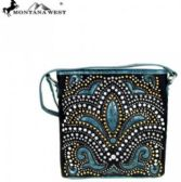 6 Units of Montana West Bling Bling Collection Crossbody Bag Black Turquoise - Wallets & Handbags