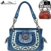 4 Units of Montana West Concho Collection Concealed Carry Satchel BLUE - Wallets & Handbags