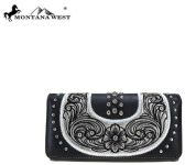 6 Units of Montana West Embroidered Collection Wallet Black - Wallets & Handbags