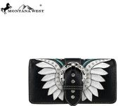 6 Units of Montana West Buckle Collection Wallet Black White - Wallets & Handbags