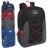 24 Units of Trailmaker 17 Inch Bungee Backpack With Side Pocket - 5 Colors - Backpacks 17""