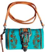 6 Units of Buckle Wallet Purse with Embroideries Turquoise - Shoulder Bags & Messenger Bags