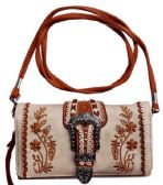 6 Units of Buckle Wallet Purse with Embroideries Beige - Shoulder Bags & Messenger Bags